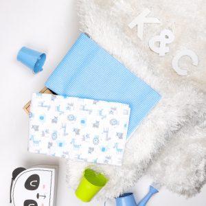 Kicks & Crawl- Blue Baby Animals Waterproof Bed Sheet - 2 Pack