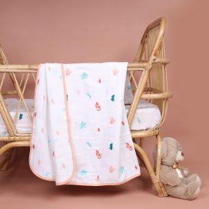 Kicks & Crawl- Pink Bunnies Organic Reversible Blanket