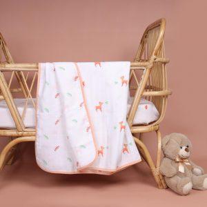 Kicks & Crawl- Pink Deer Organic Reversible Blanket