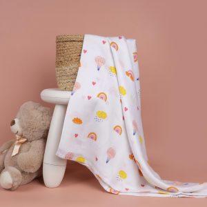 Kicks & Crawl- Pink Rainbows Bamboo Swaddle