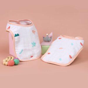 Kicks & Crawl- Cute Bunny Organic Round Bibs (Pack of 2)
