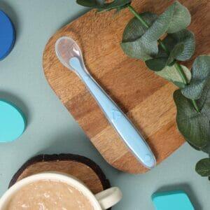 Kicks & Crawl- Baby Blue Long Silicone Spoon