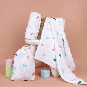 Kicks & Crawl- Pink Bunnies Organic Swaddle (Pack of 2)