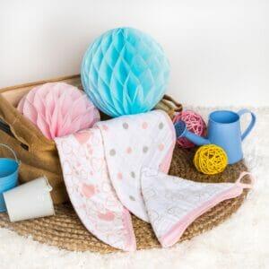 Kicks & Crawl- Pink Kitty 3 Pack Muslin Wash Cloths