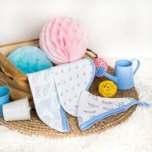 Kicks & Crawl- Blue Lions 3 Pack Muslin Wash Cloths