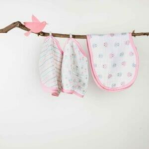 Kicks & Crawl- Baby Pink PO3 Muslin Burp Cloth Bibs