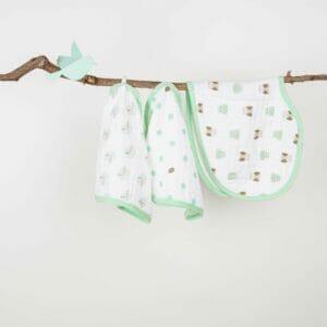 Kicks & Crawl- Mint Green PO3 Muslin Burp Cloth Bibs