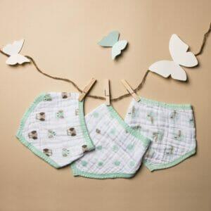 Kicks & Crawl- Mint Green Muslin Bandana Bibs- 3 Pack
