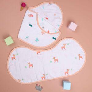 Kicks & Crawl- Crawling Cuties Reversible Organic Burp Cloth Bibs (Pack of 2)