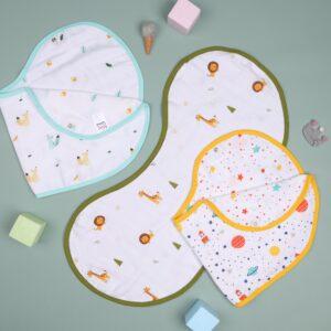 Kicks & Crawl- Friends in Galaxy Reversible Organic Burp Cloth Bibs (Pack of 3)