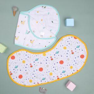 Kicks & Crawl- Baby Explorer Reversible Organic Burp Cloth Bibs (Pack of 2)
