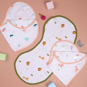 Kicks & Crawl- Fun in Forest Reversible Organic Burp Cloth Bibs (Pack of 3)