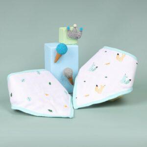 Kicks & Crawl- Baby Squirrel Organic Bandana Bibs (Pack of 2)