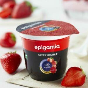 Epigamia Greek Yogurt - No Added Sugar, Strawberry - 120 gm