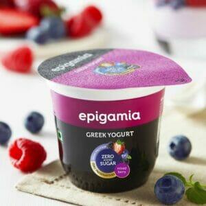 Epigamia Greek Yogurt - No Added Sugar, Mixed Berries - 120 gm