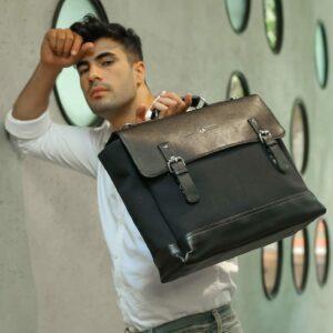 "Rashki Nero Canvas and Vegan Leather 15"" Laptop Bag"