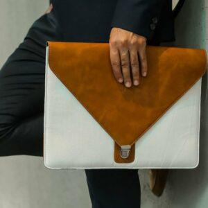 "Rashki Canva Vegan Leather and Canvas 14.5"" Laptop Sleeve"