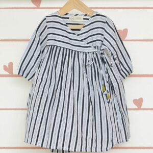 Kimono' - a classic LTWT design in Handwoven Cotton Black and White Stripes
