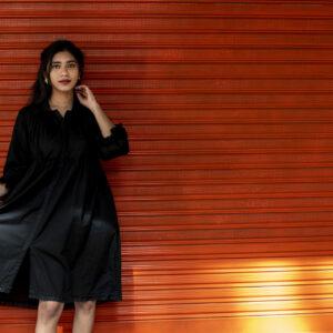 Black dobby Shirt Dress