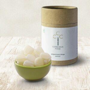 Conscious Food Natural Peppermint Drops, 100g