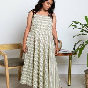 Pine Stripe Dress-Pine