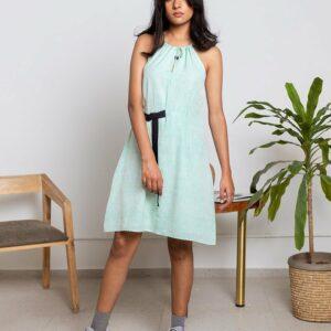 Portico Belt Dress-Sea Green
