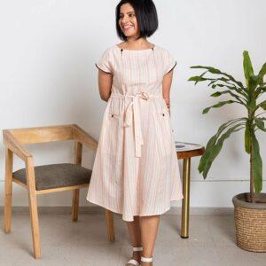 Sunset Lounge Dress(Orange & white)