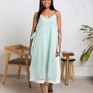 Mint Foam Tie-up Dress(Sea Green)