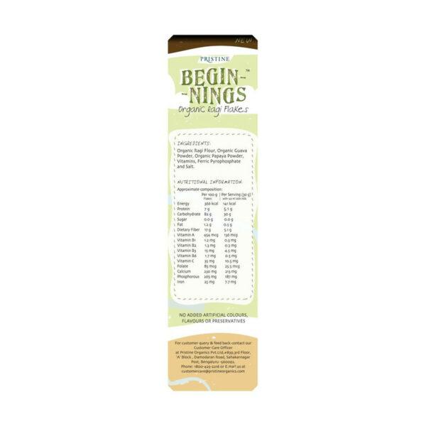 PRISTINE Beginnings Organic Ragi - Flakes, 300gm Pack of 4