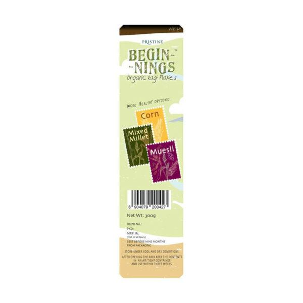 PRISTINE Beginnings Organic Ragi - Flakes, 300gm Pack of 5