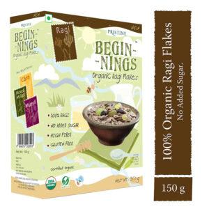 PRISTINE Beginnings Organic Ragi - Flakes, 150gm Pack of 3