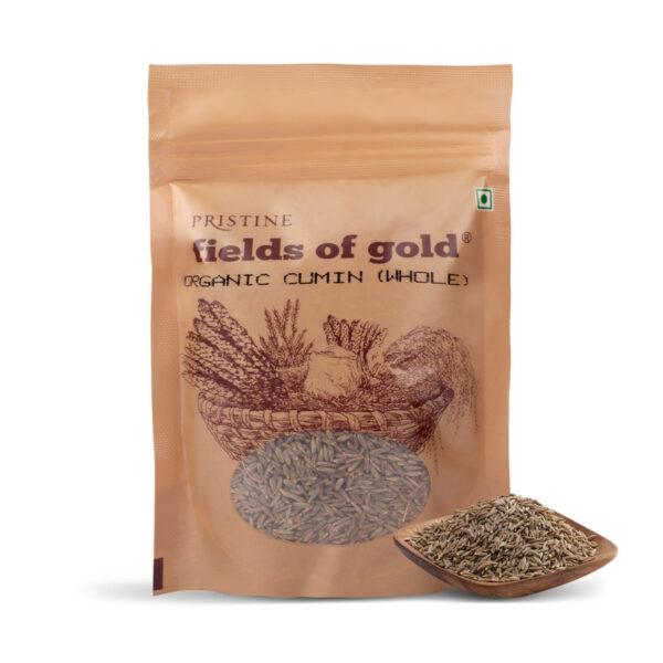 PRISTINE Fields of Gold Organic Cumin (Whole), 100gm Pack of 2