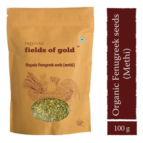 PRISTINE Fields of Gold Organic Fenugreek Seeds (Methi), 100gm Pack of 1