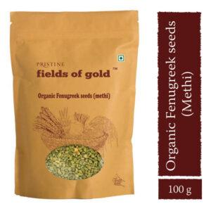 PRISTINE Fields of Gold Organic Fenugreek Seeds (Methi), 100gm Pack of 4