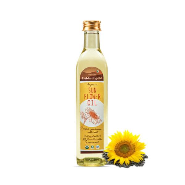 PRISTINE Fields of Gold Organic Sunflower Oil Glass Bottle, 500ml Pack of 5