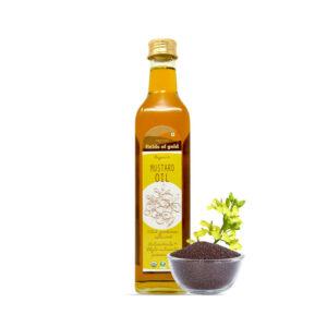 PRISTINE Fields of Gold Organic Mustard Oil Glass Bottle, 500ml Pack of 2