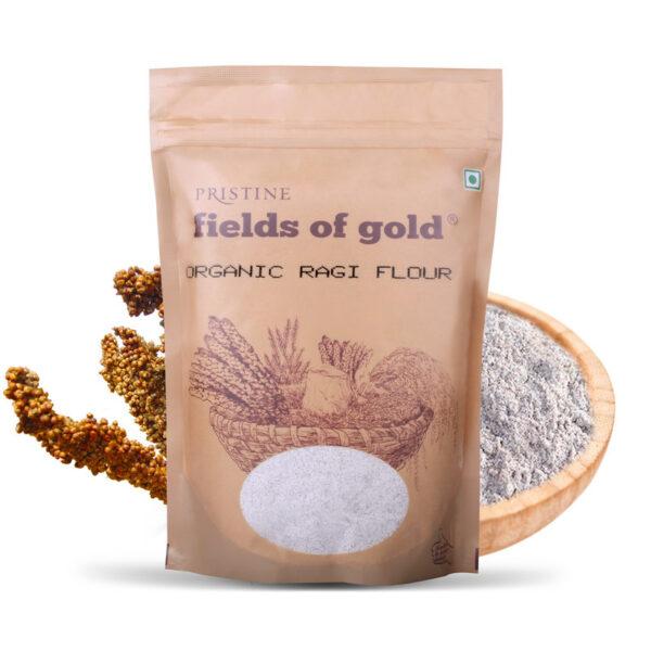 PRISTINE Fields of Gold Organic Ragi Flour, 1Kg Pack of 4