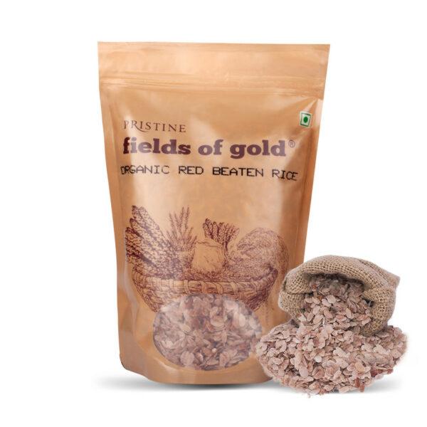 PRISTINE Fields of Gold Organic Red Beaten Rice, 500gm Pack of 4