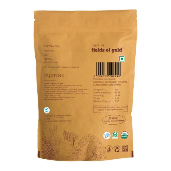 PRISTINE Fields of Gold Organic Sonamasoori Rice Flour (Brown), 1kg Pack of 4