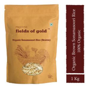 PRISTINE Fields of Gold Organic Sonamasoori Rice (Brown), 1kg Pack of 4