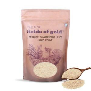 PRISTINE Fields of Gold Organic Sonamasoori Rice (Hand pound), 1kg Pack of 2