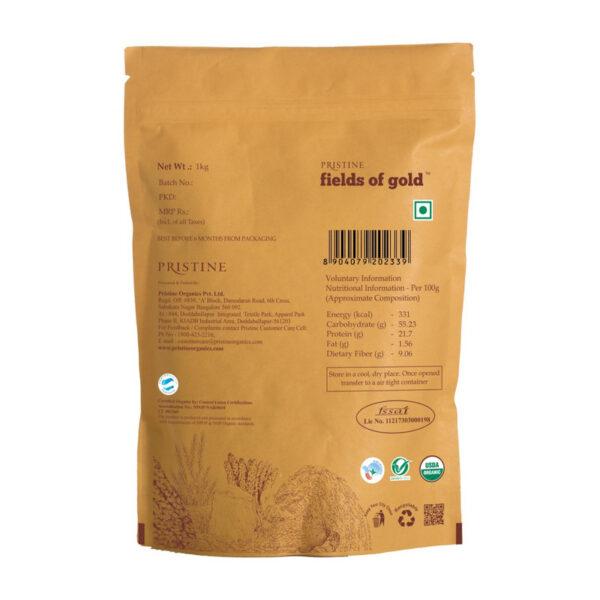 PRISTINE Fields of Gold Organic Toor Dal (Red gram split), 1kg Pack of 2