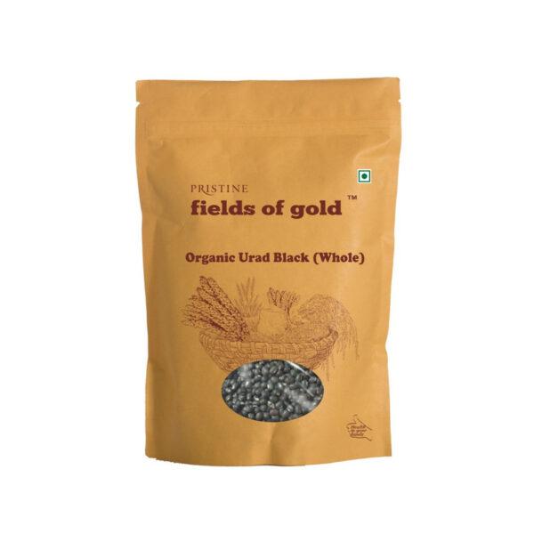 PRISTINE Fields of Gold Organic Urad Black (Whole), 500gm Pack of 5