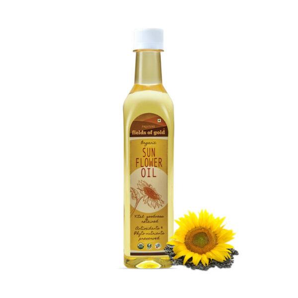 PRISTINE Fields of Gold Organic Sunflower Oil, 500ml Pack of 3