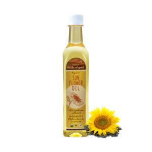 PRISTINE Fields of Gold Organic Sunflower Oil, 500ml Pack of 5
