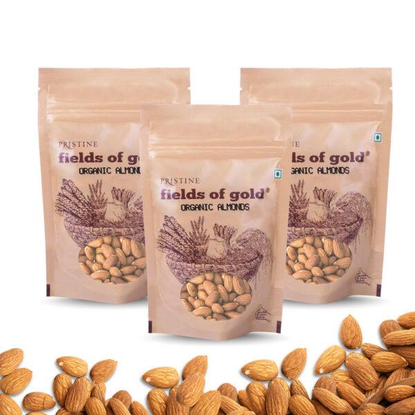 PRISTINE Fields of Gold Organic Almonds, 100gm Pack of 3