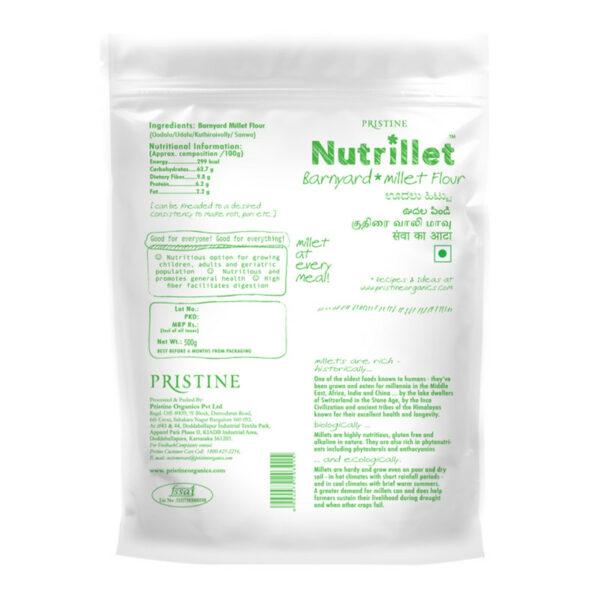 PRISTINE Nutrillet Barnyard Millet Flour, 500gm Pack of 1