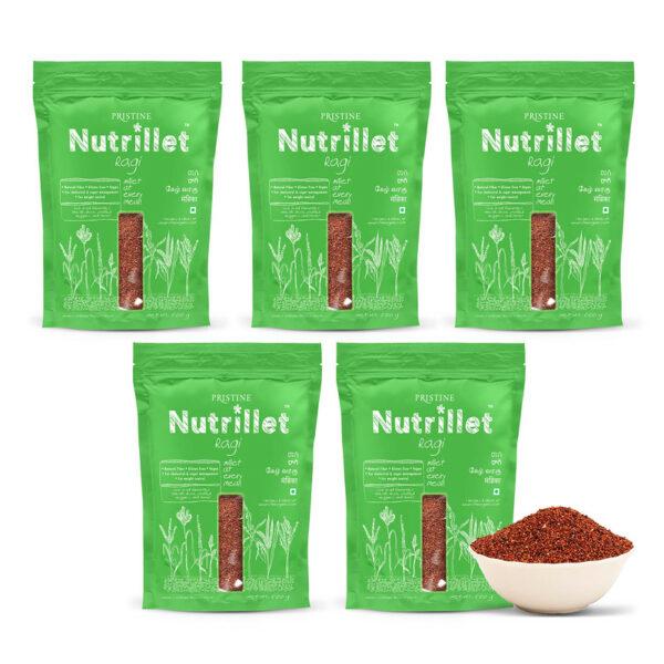 PRISTINE Nutrillet Ragi, 500gm Pack of 5
