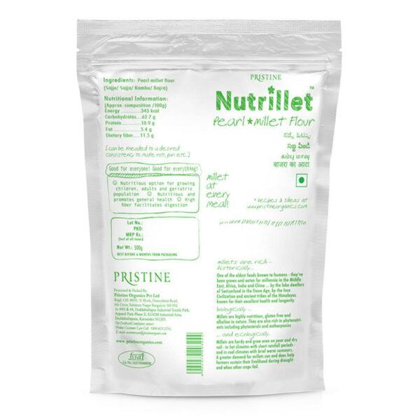 PRISTINE Nutrillet Pearl Millet Flour, 500gm Pack of 4