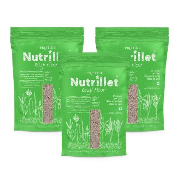 PRISTINE Nutrillet Ragi Flour, 500gm Pack of 3